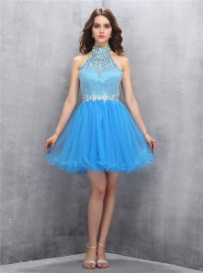 Tulle Sleeveless Mini Length Prom Party Dress and Beading