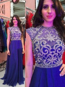 Eye-catching Royal Blue A-line Chiffon High-neck Sleeveless Beading Floor Length Zipper Prom Dresses