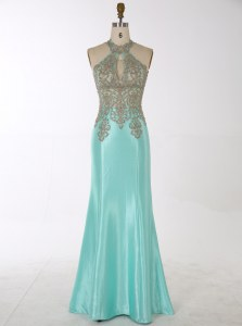New Style Mermaid Satin High-neck Sleeveless Zipper Beading Prom Gown in Aqua Blue