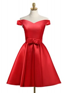 Off the Shoulder Knee Length Red Prom Dress Satin Sleeveless Bowknot