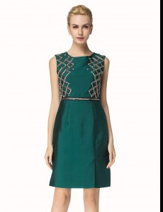 Bateau Sleeveless Zipper Dark Green Satin