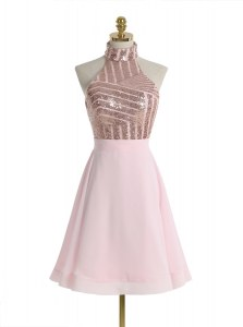 Custom Fit Halter Top Baby Pink Backless Prom Gown Sequins Sleeveless Knee Length