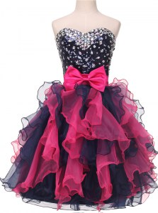 Knee Length Multi-color Prom Party Dress Sweetheart Sleeveless Lace Up