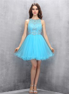 Scoop Baby Blue Sleeveless Knee Length Beading Zipper Prom Evening Gown