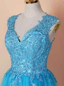 Fancy Sleeveless Tulle Knee Length Zipper in Blue with Beading and Appliques