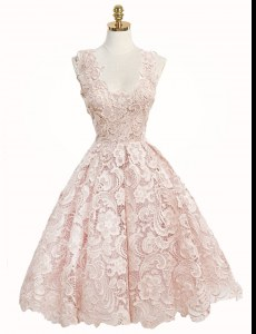 Baby Pink Lace Zipper Homecoming Dress Sleeveless Knee Length Lace