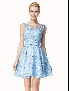 Scoop Blue Lace Zipper Prom Party Dress Sleeveless Mini Length Bowknot