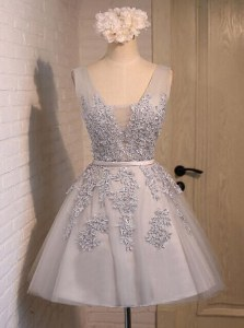 Hot Selling Grey Organza Lace Up Dress for Prom Sleeveless Mini Length Beading and Appliques