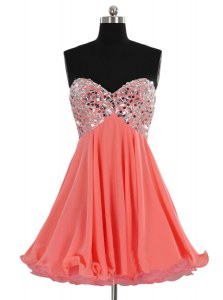 Fancy Mini Length Watermelon Red Prom Dress Chiffon Sleeveless Beading