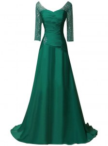 Fantastic Long Sleeves Sweep Train Beading and Ruching Zipper Going Out Dresses