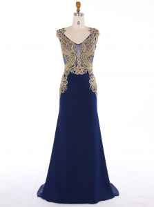 Flare Mermaid Appliques Prom Party Dress Navy Blue Zipper Sleeveless Sweep Train