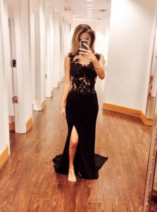 Mermaid Scoop Zipper Prom Gown Black for Prom and Party with Appliques Brush Train