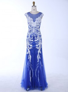 Gorgeous Mermaid Scoop Sleeveless Backless Floor Length Beading and Appliques Prom Party Dress