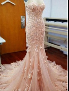 Mermaid Baby Pink Tulle Zipper Sweetheart Sleeveless With Train Prom Gown Chapel Train Appliques
