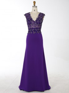 Mermaid Purple Chiffon Zipper Prom Dress Sleeveless With Brush Train Beading