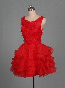 Pretty Mini Length Red Homecoming Dress Scoop Sleeveless Zipper