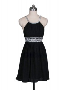 Halter Top Black Sleeveless Mini Length Beading Zipper Cocktail Dresses