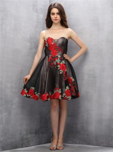 Brown and Pink And Black A-line Appliques Prom Party Dress Zipper Chiffon Sleeveless Mini Length