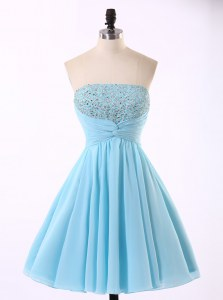 Discount Sequins Mini Length Blue Homecoming Dress Strapless Sleeveless Zipper