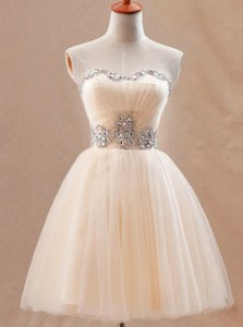 Champagne Ball Gowns Tulle Sweetheart Sleeveless Beading Mini Length Zipper Homecoming Dress