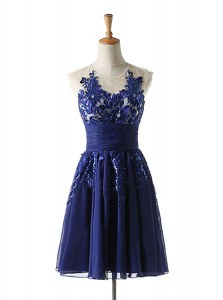 Customized Scoop Knee Length A-line Sleeveless Navy Blue Dress for Prom Backless