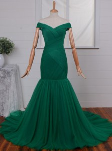 Low Price Mermaid Off the Shoulder Sleeveless Court Train Ruching Zipper Prom Dresses