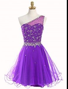 Purple One Shoulder Neckline Beading Prom Dress Sleeveless Zipper