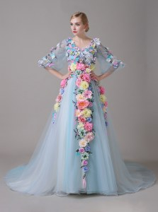 Fine Half Sleeves With Train Zipper Prom Party Dress Blue for Prom and Party with Hand Made Flower Court Train