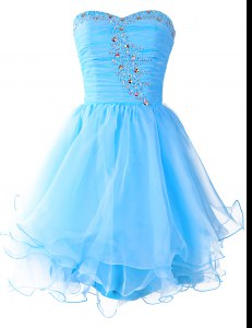 Sleeveless Mini Length Beading Lace Up Prom Dress with Baby Blue