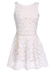White Lace Zipper Scoop Sleeveless Mini Length Prom Party Dress Lace and Belt