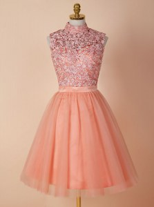 Gorgeous Knee Length Backless Homecoming Dress Peach for Prom with Appliques