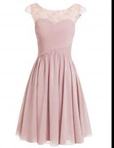 Elegant Pink Chiffon Zipper Scoop Cap Sleeves Knee Length Prom Gown Beading