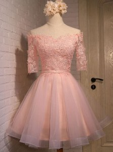 Traditional Off the Shoulder Peach Organza Lace Up Dress for Prom Short Sleeves Mini Length Appliques