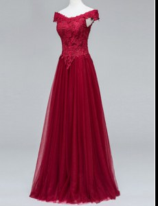 Fashion Short Sleeves Floor Length Zipper Prom Party Dress Wine Red for Prom with Lace