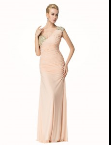 Attractive Mermaid One Shoulder Peach Sleeveless Beading and Ruching Floor Length Homecoming Dress