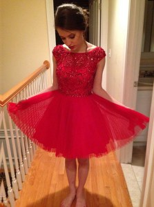Custom Design Cap Sleeves Beading Zipper Prom Party Dress