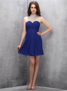 Cheap High-neck Sleeveless Chiffon Dress for Prom Beading Zipper