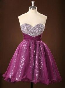 Modern Mini Length Zipper Prom Gown Purple for Prom with Sequins