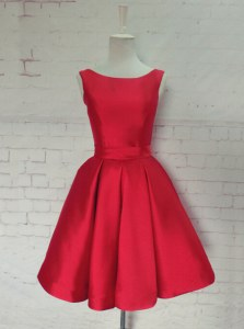 Modern Red Sleeveless Knee Length Ruching and Bowknot Backless Prom Evening Gown
