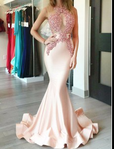 Brush Train Mermaid Dress for Prom Peach Halter Top Satin Sleeveless With Train Zipper