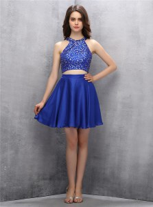 Charming Halter Top Sleeveless Chiffon Mini Length Zipper Prom Gown in Royal Blue with Beading