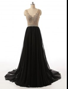 Custom Designed With Train Side Zipper Homecoming Dress Black for Prom with Beading Brush Train