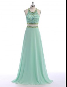 Apple Green Prom and For with Beading Scoop Sleeveless Sweep Train Criss Cross