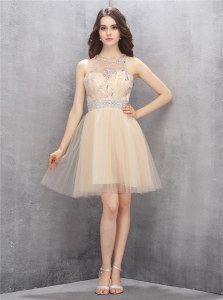 Champagne Scoop Zipper Beading Prom Dresses Sleeveless