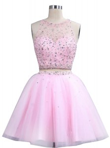 Scoop Sleeveless Prom Party Dress Knee Length Beading Pink Organza