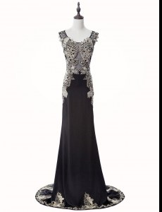 Black Mermaid Chiffon Scoop Sleeveless Beading and Appliques Zipper Prom Dress Brush Train