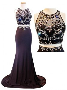 Scoop Chiffon Sleeveless With Train Dress for Prom Court Train and Beading and Appliques