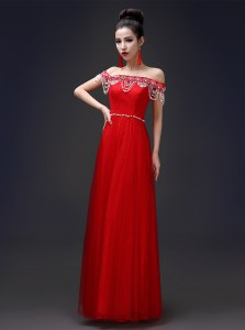 Off The Shoulder Sleeveless Prom Dresses Floor Length Beading Red Tulle and Lace