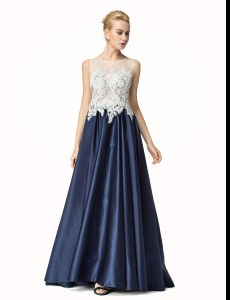 Side Zipper Homecoming Dress Navy Blue for Prom and Party with Beading and Lace Brush Train