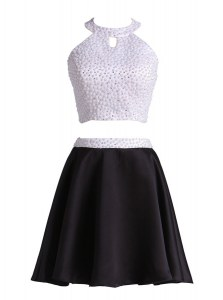 Halter Top Beading Prom Party Dress Black Zipper Sleeveless Mini Length